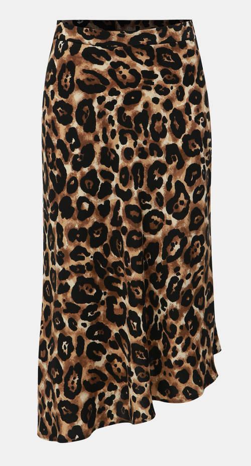Fekete-barna aszimmetrikus midi szoknya gepárd mintával