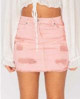 Női farmer mini szoknya, modern kivitelben, rózsaszín