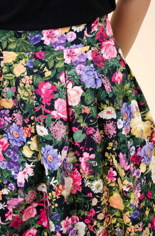 Női pliszírozott virágos szoknya