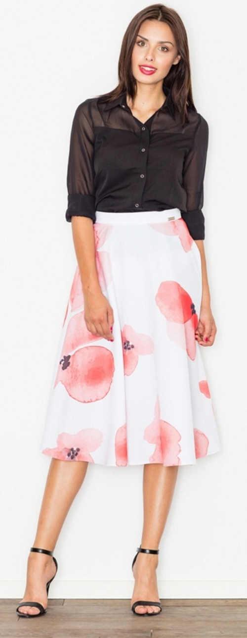 Fehér női szoknya nagy rózsaszín virágokkal