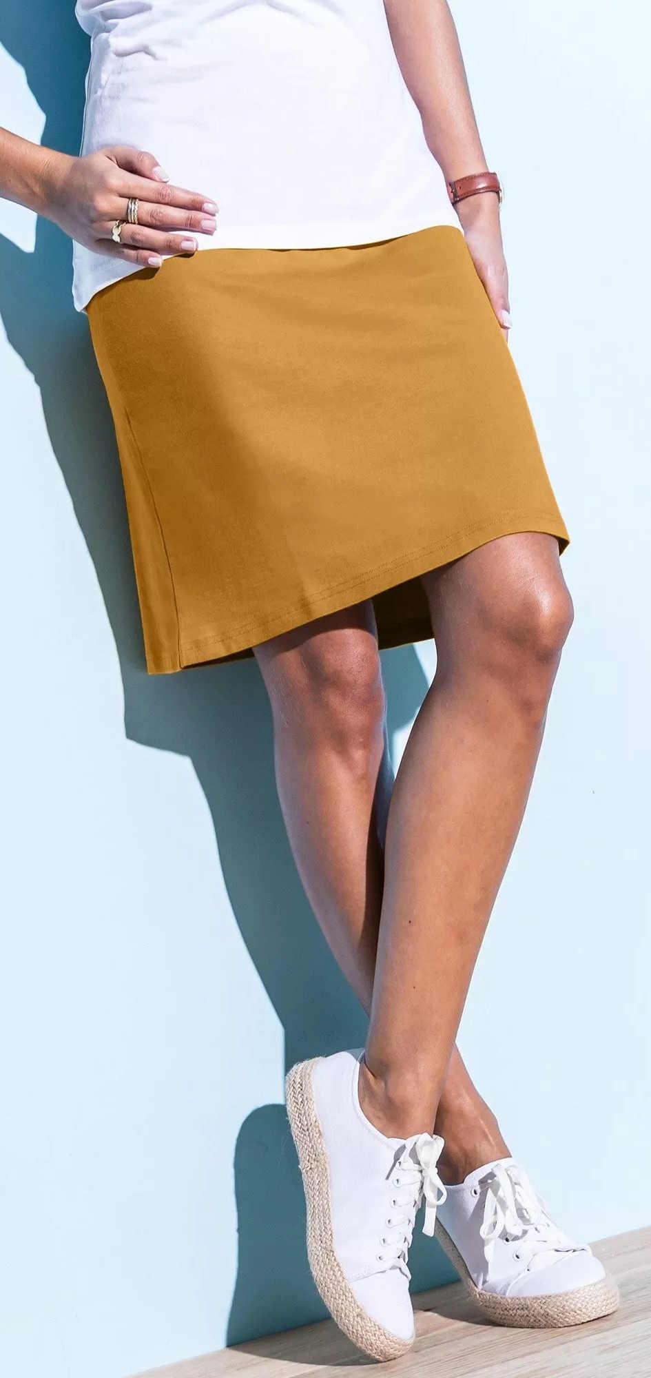 Női szoknya sárga-barna méz színű
