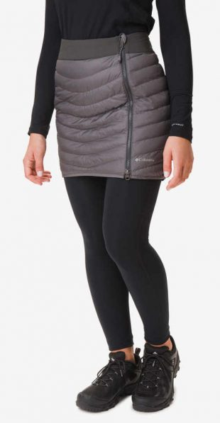 Női téli steppelt szoknya szürke színben, vízálló anyagból