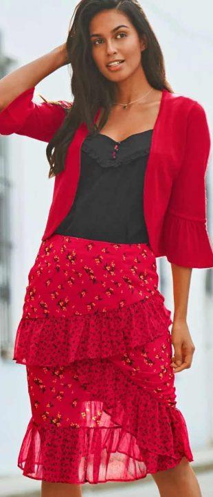 Olcsó Piros női szoknya aszimmetrikus fodrokkal