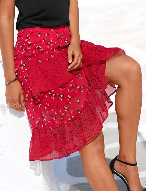Piros nyári szoknya könnyű voile-ból