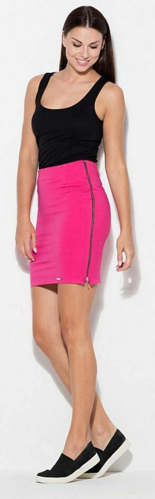 Rózsaszín női szoknya hosszú oldalsó cipzárral
