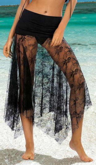 Női strandszoknya átlátszó fekete csipkéből